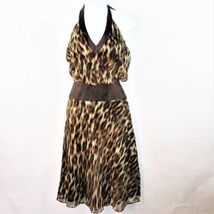NWT Laundry Shelli Segal Leopard Silk Halter Dress